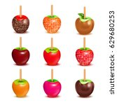 whole candy apples covered in... | Shutterstock .eps vector #629680253