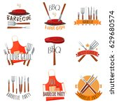 colored isolated barbecue party ... | Shutterstock .eps vector #629680574