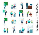 school teacher colored icons... | Shutterstock .eps vector #629680856