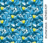 seamless pattern with blue... | Shutterstock .eps vector #629681429