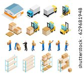 warehouse isometric set... | Shutterstock .eps vector #629681948