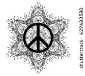 peace symbol over decorative... | Shutterstock .eps vector #629683580