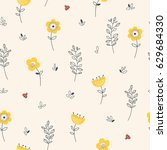 seamless pattern with flowers ... | Shutterstock .eps vector #629684330