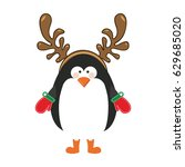 silhouette christmas of penguin ... | Shutterstock .eps vector #629685020