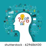 silhouette of a man's head with ... | Shutterstock .eps vector #629686430