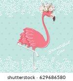 pink flamingo vector...   Shutterstock .eps vector #629686580