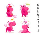 collection of flat funny... | Shutterstock . vector #629691230