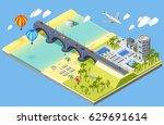 bridge and beach isometric... | Shutterstock .eps vector #629691614