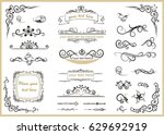 set with different swirled floral ornaments