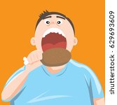 fat man eating chicken leg or... | Shutterstock .eps vector #629693609