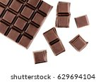 chocolate cubes  pieces of... | Shutterstock . vector #629694104