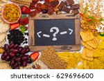 healthy and unhealthy snacks... | Shutterstock . vector #629696600