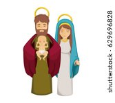 mary joseph and baby jesus icon.... | Shutterstock .eps vector #629696828