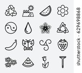 natural icon. set of 16 natural ... | Shutterstock .eps vector #629698868