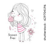 little girl with ice cream | Shutterstock .eps vector #629704196