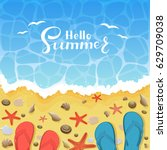 summer background with flip... | Shutterstock .eps vector #629709038