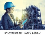 young woman engineer using... | Shutterstock . vector #629712560