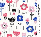 seamless pattern with flowers | Shutterstock .eps vector #629714576