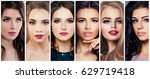 beautiful women with perfect... | Shutterstock . vector #629719418