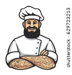 smiling hipster chef with beard ... | Shutterstock .eps vector #629723213