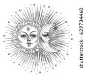 sun and moon with face stylized ... | Shutterstock .eps vector #629734460