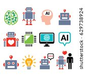 robot  artificial intelligence  ... | Shutterstock .eps vector #629738924