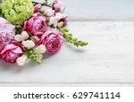 Stock photo bouquet of flowers copy space blank space for greetings 629741114