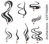 smoking fumes line. flat design ... | Shutterstock .eps vector #629744684