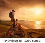 tourists with backpacks... | Shutterstock . vector #629756888