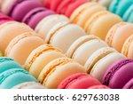 colorful macaroon macro ... | Shutterstock . vector #629763038
