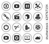 set of 16 shiny filled icons... | Shutterstock .eps vector #629767154