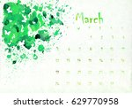 beautiful watercolor calendar... | Shutterstock . vector #629770958