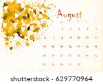 beautiful watercolor calendar... | Shutterstock . vector #629770964
