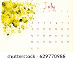 beautiful watercolor calendar... | Shutterstock . vector #629770988