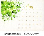 beautiful watercolor calendar... | Shutterstock . vector #629770994