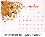 beautiful watercolor calendar... | Shutterstock . vector #629771000