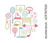 vector icons  sports equipment | Shutterstock .eps vector #629787020
