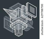 engineering abstract shape  3d... | Shutterstock .eps vector #629788700