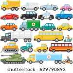 flat color cartoon automobiles. ... | Shutterstock .eps vector #629790893