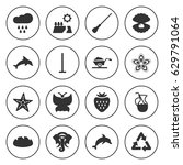 set of 16 nature filled icons... | Shutterstock .eps vector #629791064
