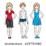 happy cute young women group... | Shutterstock .eps vector #629792480