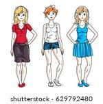 happy cute young women group... | Shutterstock .eps vector #629792480