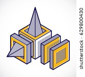 vector abstract 3d geometric... | Shutterstock .eps vector #629800430