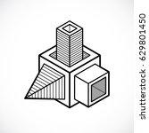 vector abstract 3d geometric... | Shutterstock .eps vector #629801450