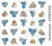 abstract vectors  3d shapes set. | Shutterstock .eps vector #629801504