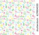bright seamless pattern  summer ... | Shutterstock .eps vector #629804030
