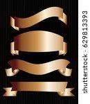 set of bronze ribbons on black... | Shutterstock .eps vector #629813393