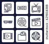 movie icon. set of 9 outline... | Shutterstock .eps vector #629818388