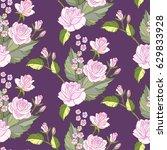 rose seamless vintage pattern. | Shutterstock .eps vector #629833928