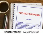 project proposal with coffee... | Shutterstock . vector #629840810